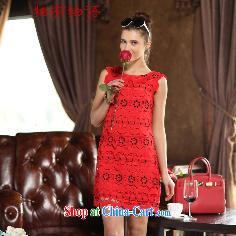 A Chinese bows service 2015 summer new sleeveless lace stitching round-collar bridesmaid clothing Bridal Fashion red XL