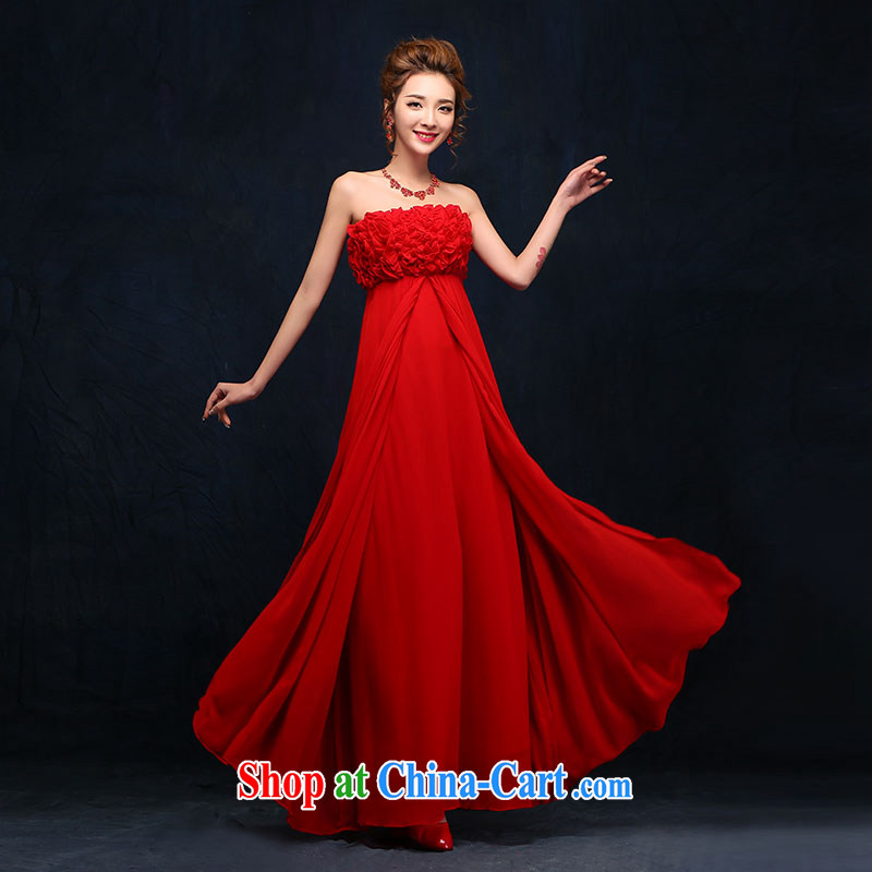 wedding dresses 2015 spring wipe chest red evening dress beauty long Korean married women toast serving red M
