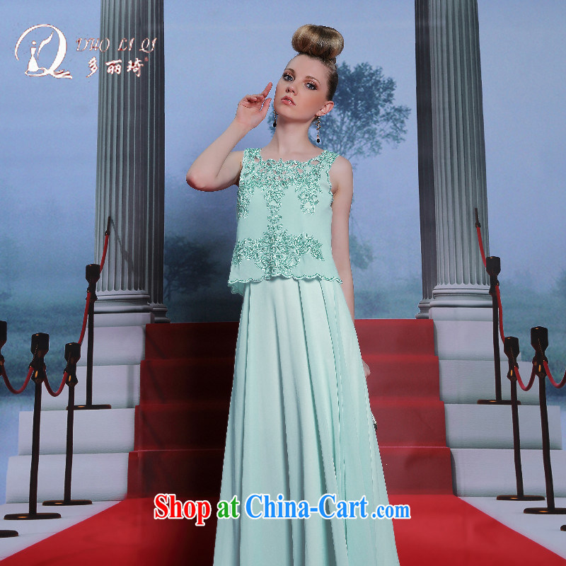 More LAI Ki are evening dress two-piece trendy code bridesmaid dress Openwork pale blue dress blue XXL