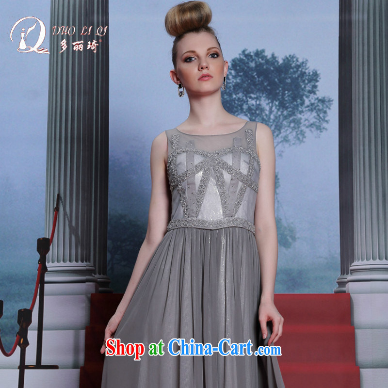 More LAI Ki 2014, Qi and Evening Dress silver embroidery the waist dress 2014 fashion dress light gray XXL
