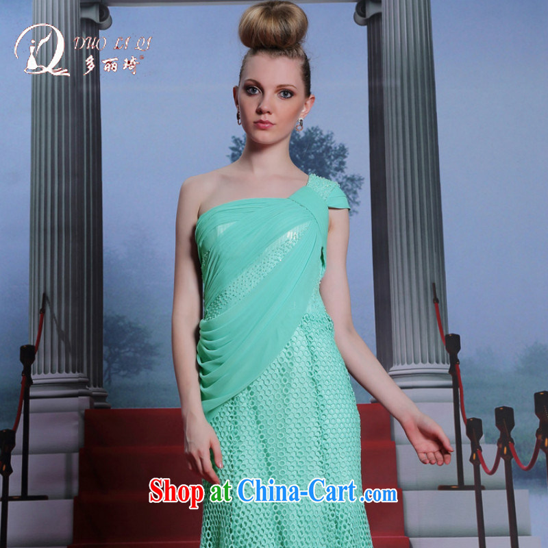 More LAI Ki ARE THE SHOULDER green dress water-soluble lace Evening Dress back exposed sexy Evening Dress green XXL