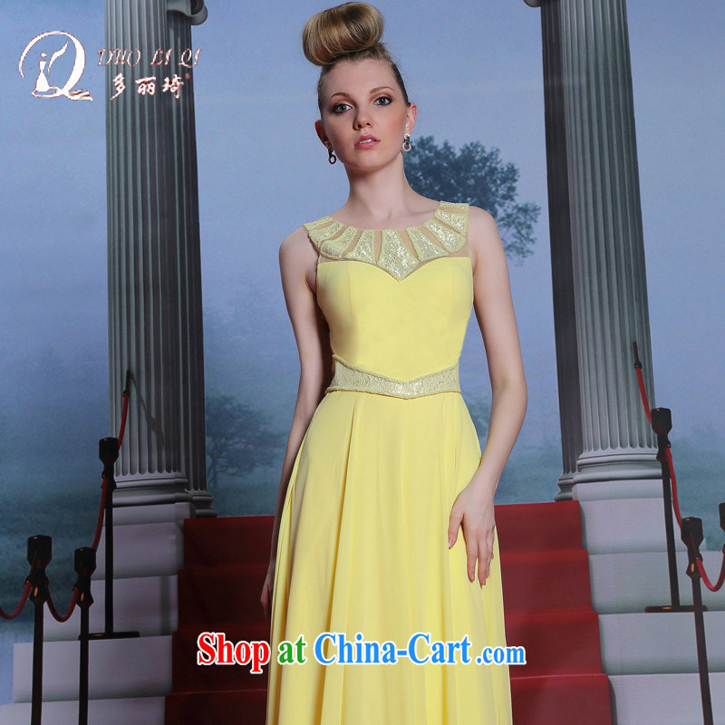 More LAI Ki new bright yellow Evening Dress manually staple Pearl dress bridesmaid dress graduation dress pale yellow XXL
