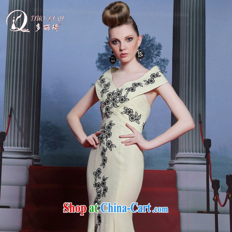 More LAI Ki 2014 Evening Dress elegant V collar sexy night evening dress crowsfoot dragging Red Carpet dress pale yellow XXL