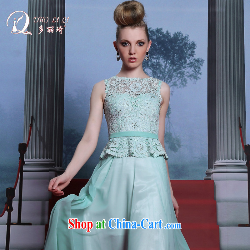 More LAI Ki leave of two blue dress sleeveless 2014 sweet dress a field in cultivating waist dress light blue XXL