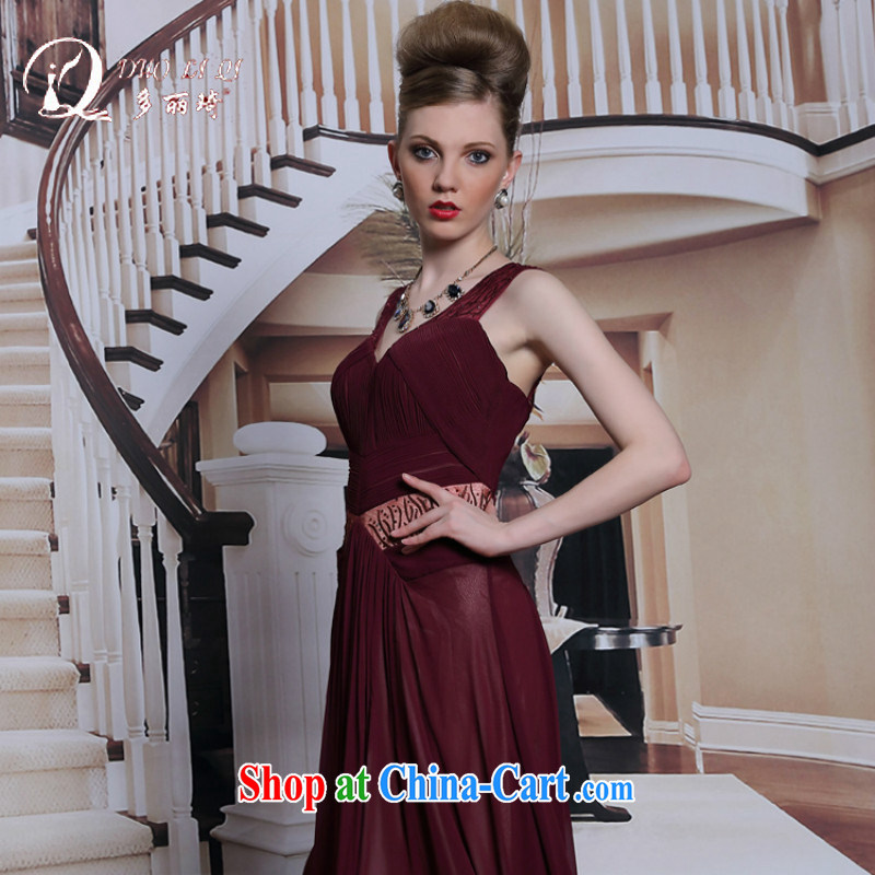 More LAI Ki Europe dress wine red dress sexy back exposed dress skirt brown XXL