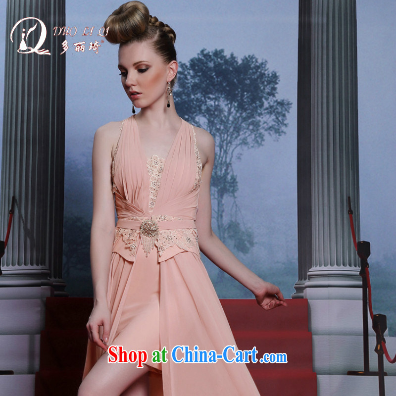 More LAI Ki Europe Evening Dress 2014 style moderator dress show sense of the forklift truck with skirt evening dress pink XXL