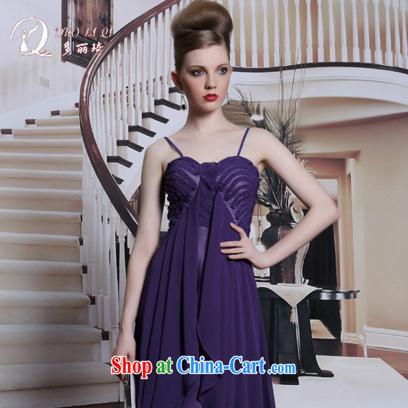 More LAI Ki Europe Evening Dress straps dress purple sexy adjustable dress 2014 summer long skirt dress purple XXL