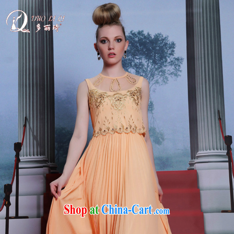 More LAI Ki Europe Evening Dress manual good evening dress fall to the Code 2014 new sweet appointment sleeveless dresses yellow XXL