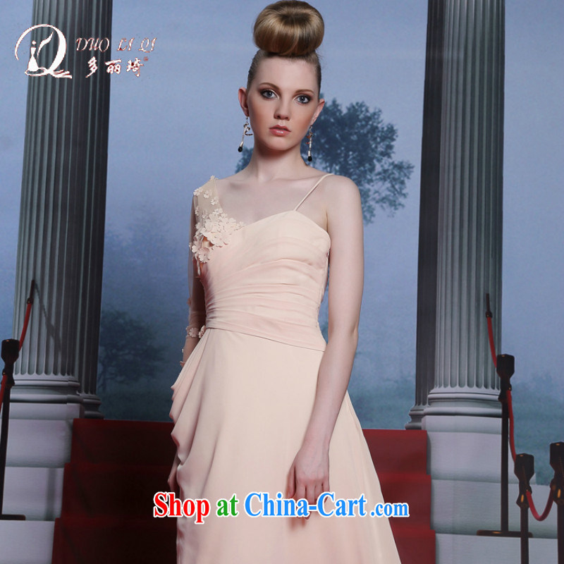 Multi-LAI Ki Europe Evening Dress pink strap Evening Dress bridesmaid dress wedding toast serving ladies dress pink XXL