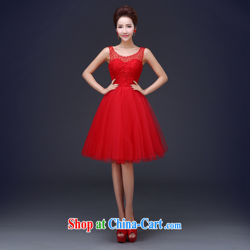 Jie MIA 2015 spring and summer new bride short wedding dress lace red toast serving red XXXL