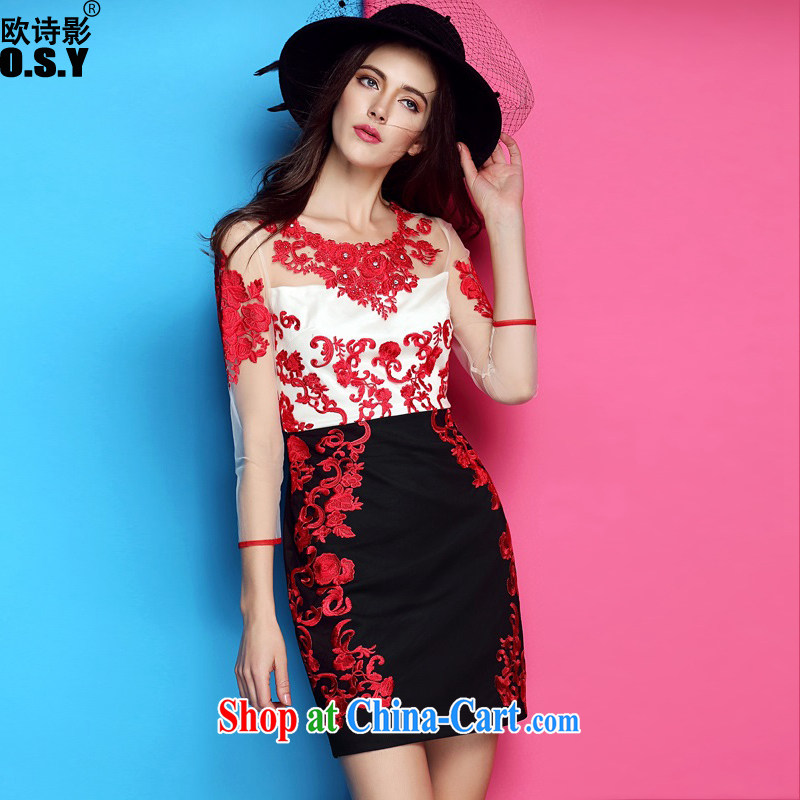 The poetry film 2015 spring and summer with new female nails Pearl embroidered beauty package and temperament dresses short dresses, bows on white black XL
