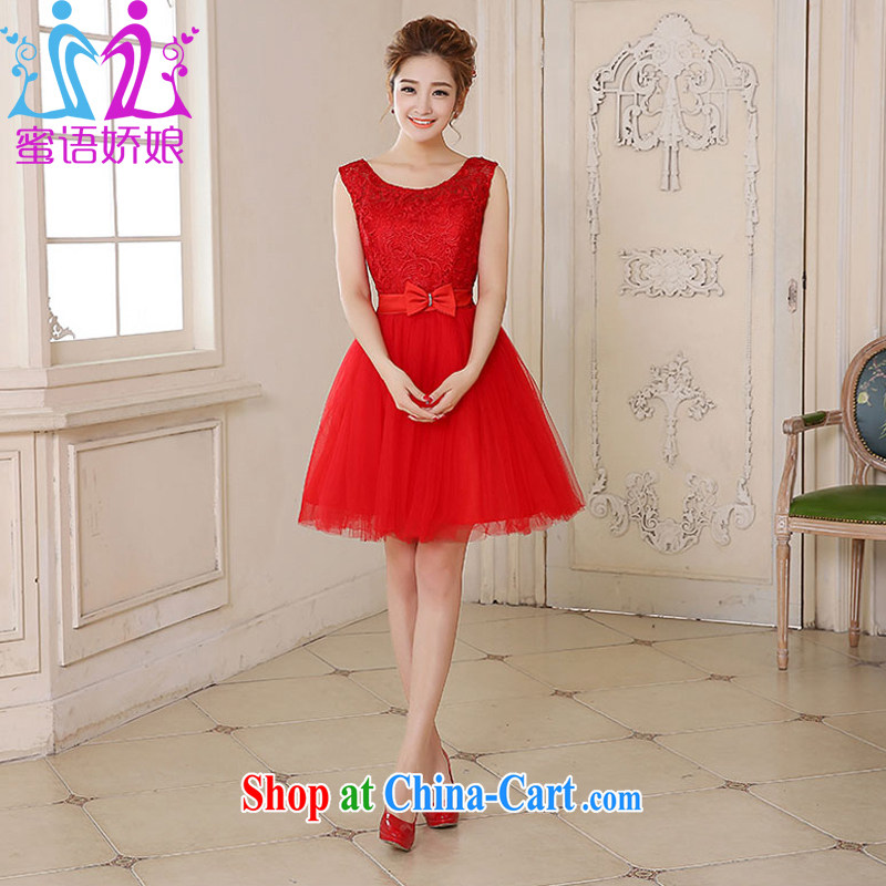 Honey, bride 2015 new bride wedding dress short red lace double-shoulder bows serving short skirts spring and summer dresses small red XXL