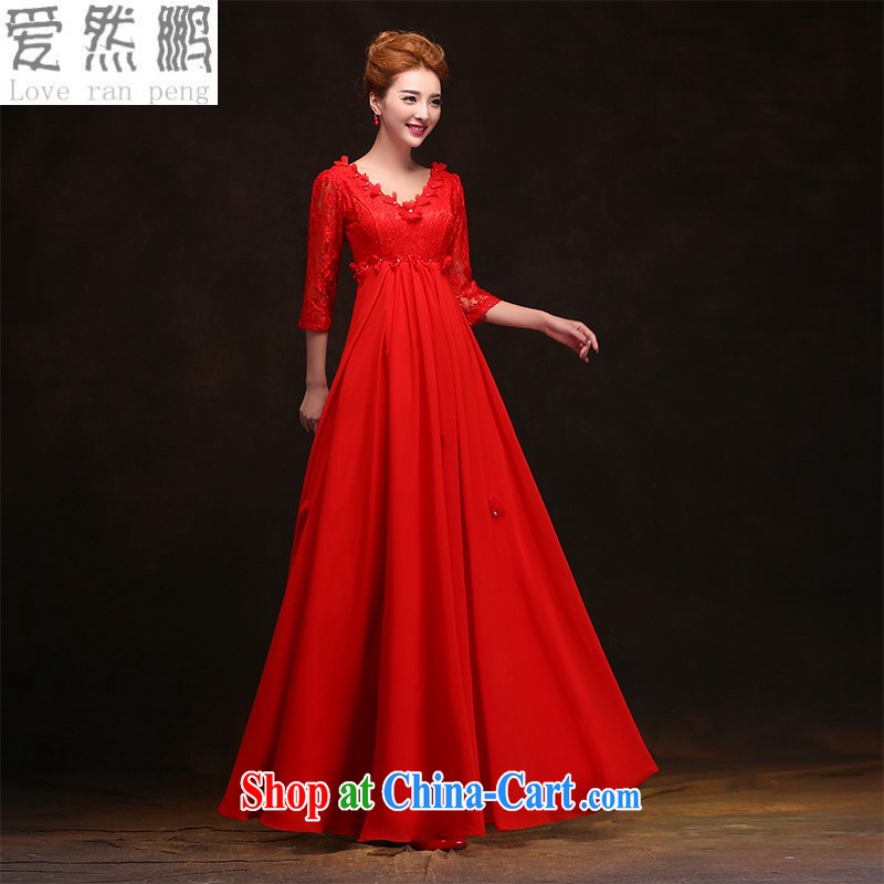 Love so Peng 2015 new bridal Red Spring wedding long gown Evening Dress high waist back door pregnant women short bows, long serving customers, the size will be done does not support return