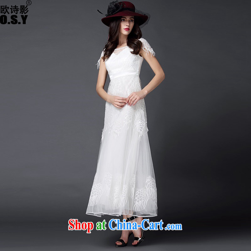 The poetry shadow new female Evening Dress dress dress long skirt long annual bridal red marriage bridesmaid moderator banquet toast clothing white S