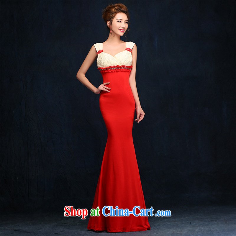 According to Lin Sa 2015 new shoulders V flowers for Good Evening Dress bridal toast serving long marriage dress picture color XL