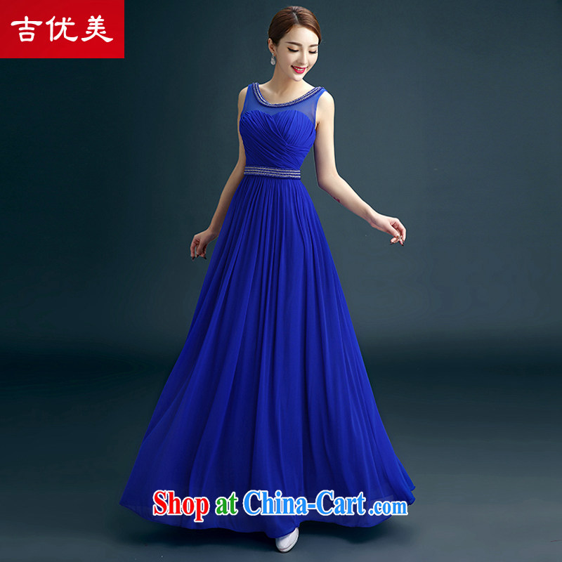 Evening Dress 2015 new luxurious and elegant sexy shoulders dress banquet moderator Performance Service Bridal toast service wedding dress blue XXL