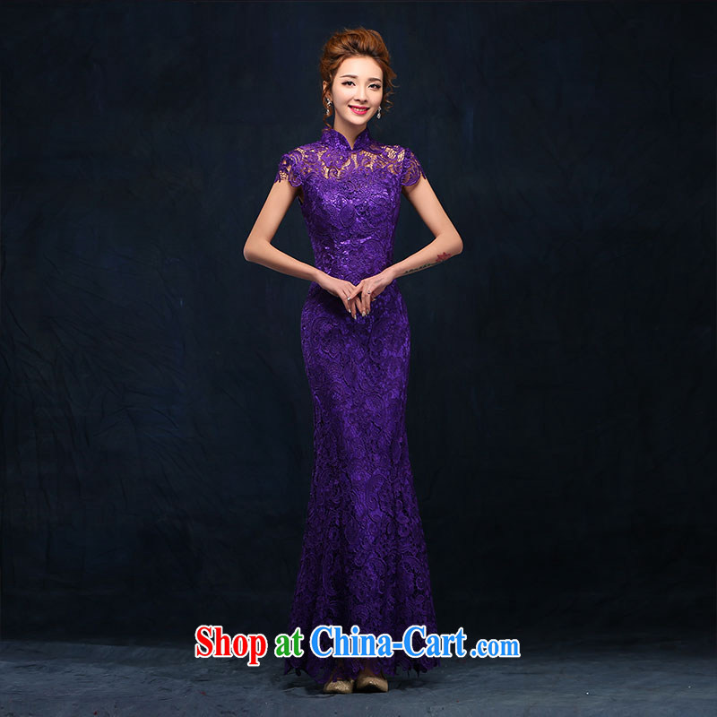 According to Lin Windsor marriages served toast stylish purple dress long cultivating crowsfoot, for marriage lace evening dress long purple S