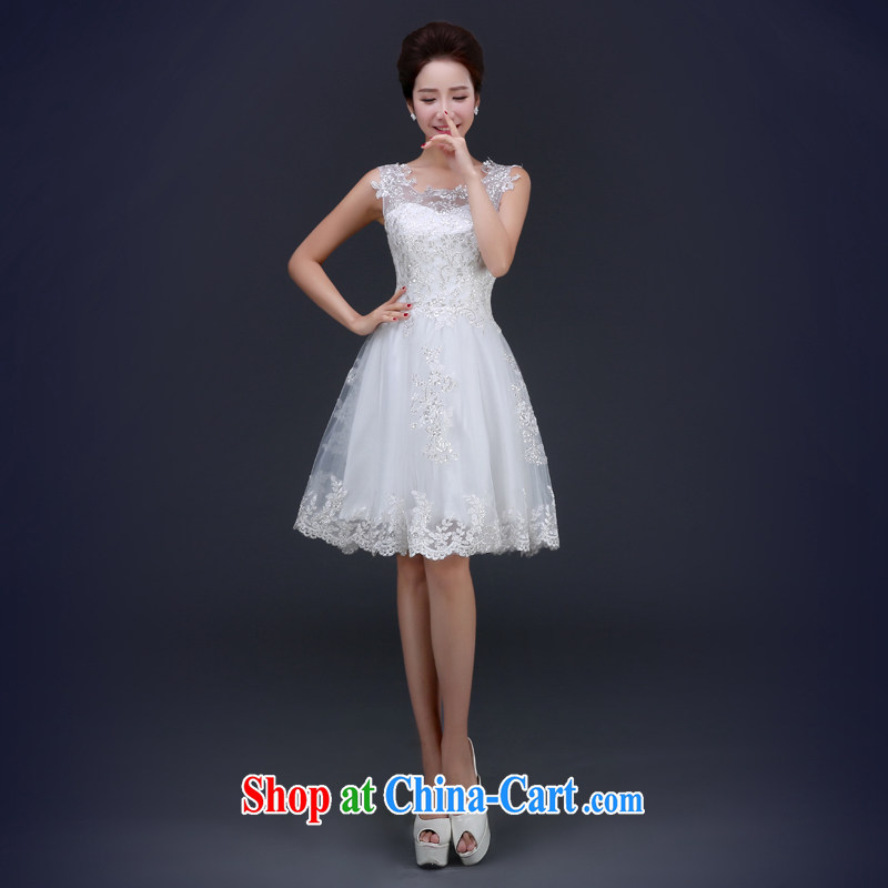 Jie MIA 2015 white spring new dual-shoulder dress graphics thin toast Service Bridal beauty services performed marriage ceremony short L