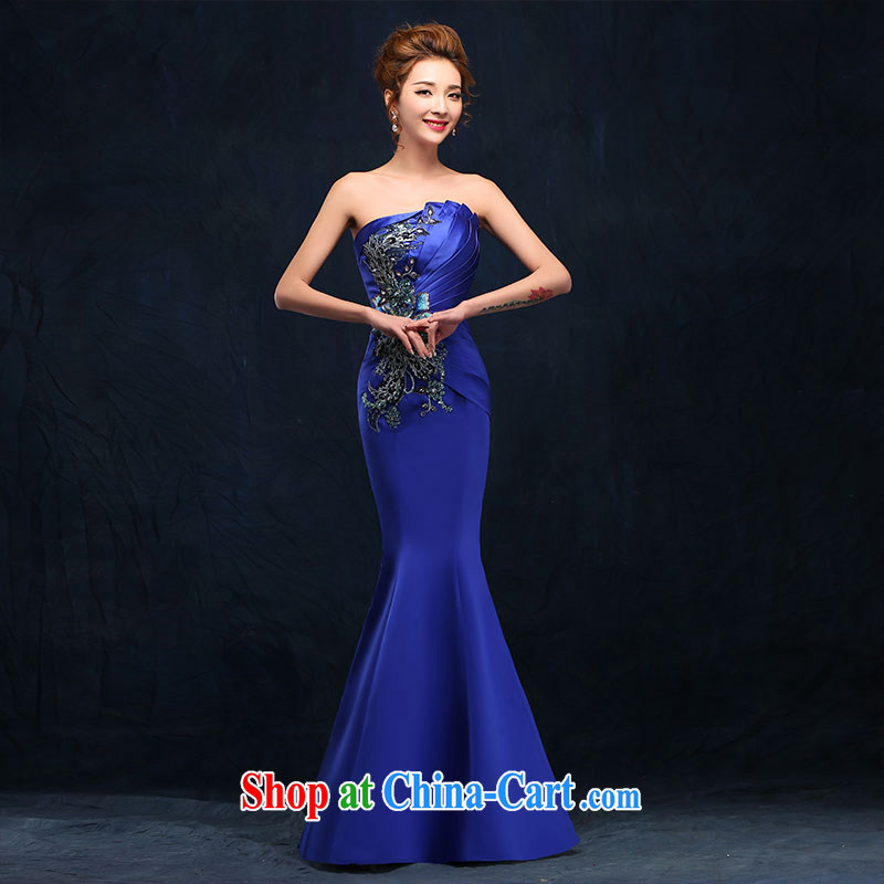 According to Lin Sha Evening Dress 2015 New Long bows service bridal gown crowsfoot wiped her chest stylish wedding blue dress blue XL