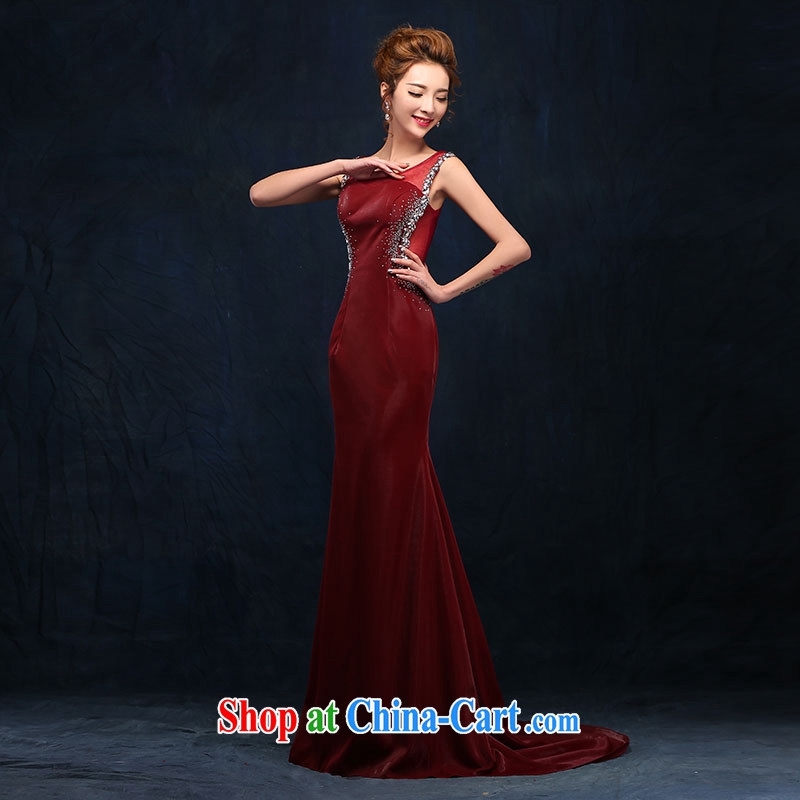 According to Lin Windsor double-shoulder parquet drill bows serving long, bridal wedding banquet wine red evening dress beauty serving toast dress wine red XL