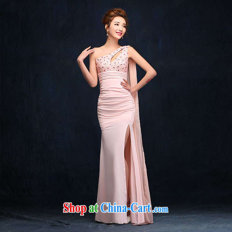 According to Lin Mona Lisa pink banquet night dress, shoulder-length, annual company moderator dress packages and evening dress pink XL
