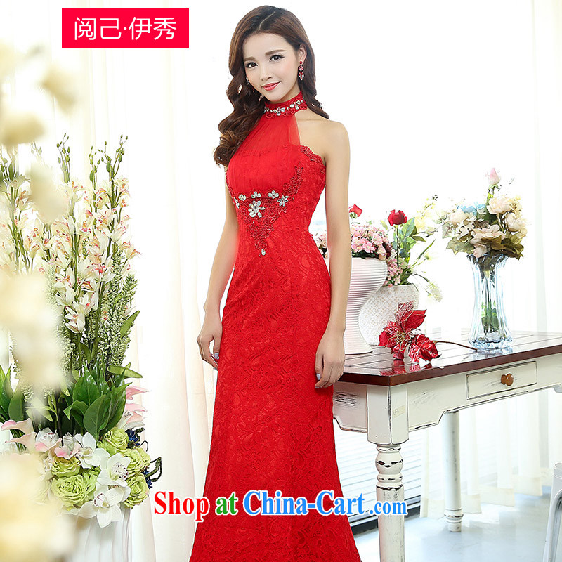 Access to and the Sau 2015 spring new high-end beauty female drawcord sleeveless back exposed sense of annual appointments wedding dress red XL