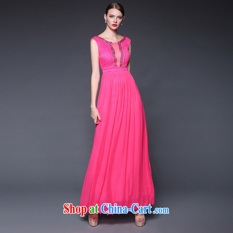 European and American style 2015 summer new goddess elegant wind long evening dress evening banquet moderator dresses of red