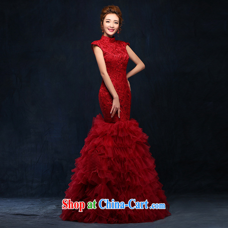 According to Lin bows her clothes 2015 new wine red evening dress, long marriages Sau San video thin binding with a crowsfoot serving wine red code are tied with,