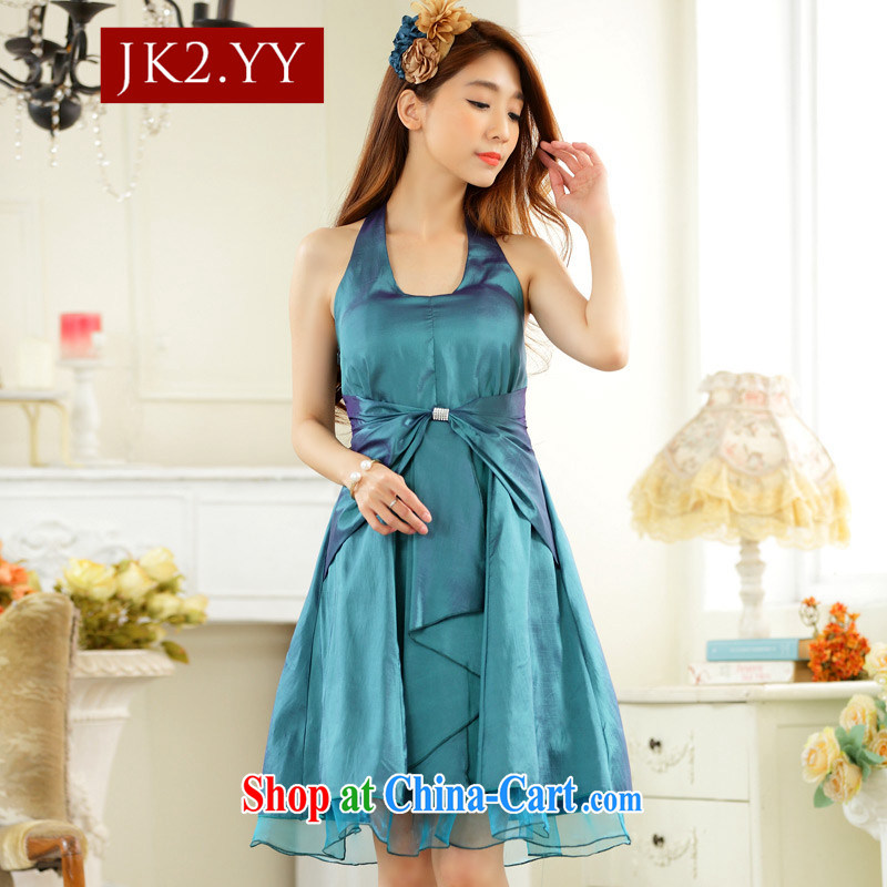 2 JK Korean Modern minimalist thin waist must also tie-in dinner dress small dress dresses green XXXL