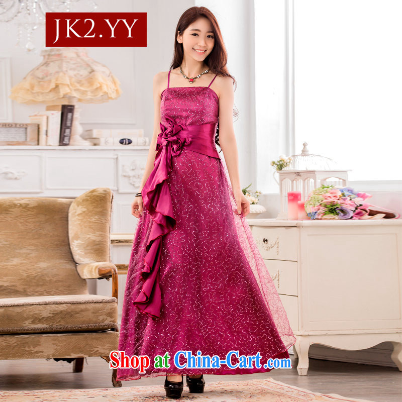 2 JK Korean fashion super star, Evening Dress show service long large code dress purple XXXL