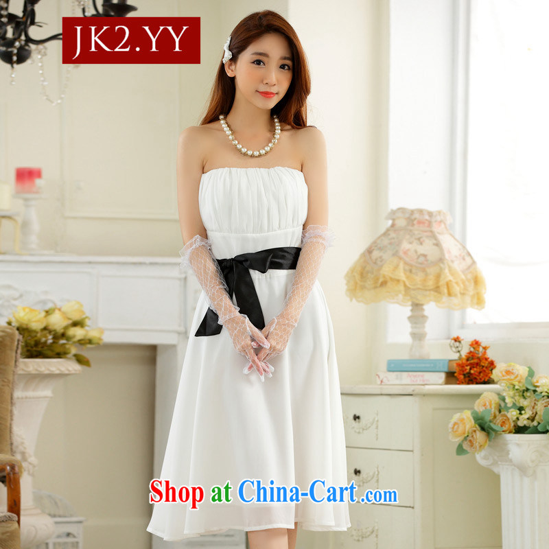 2 JK Korean minimalist style towel chest large collision color belt snow woven Dinner Show dress dress white XXXL