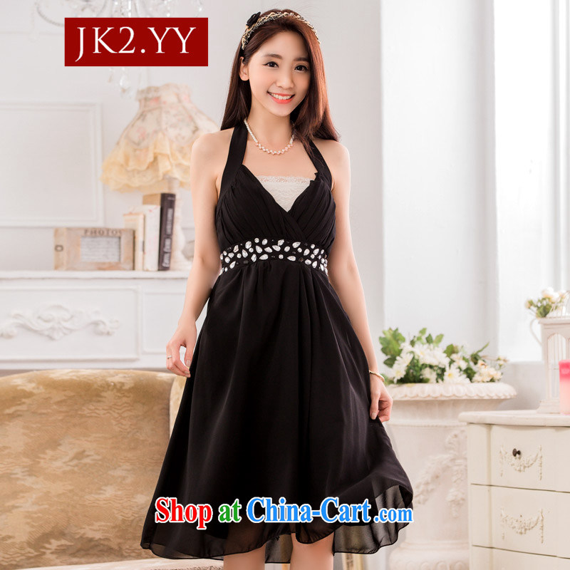 2 JK sexy V collar scarf manually staple Pearl Light drill snow woven dress small dress dress black XXXL