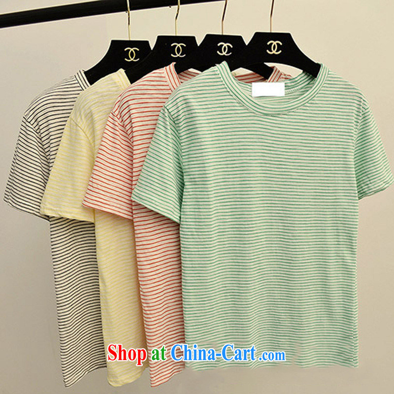 Spring Korean style small fresh College wind candy colored stripes loose ground 100 graphics thin T pension female Green are code