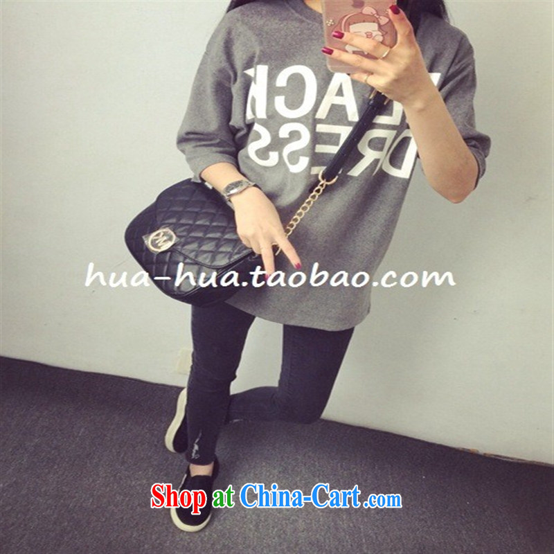 Letter mill hair loose, long, solid shirt short-sleeved shirt T dark gray are code