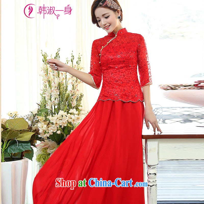 She won a 2015 new Korean fashion 100 ground embroidery stitching and elegant, for wedding dress two-piece female 1505 331 1505 red 331 3 XL