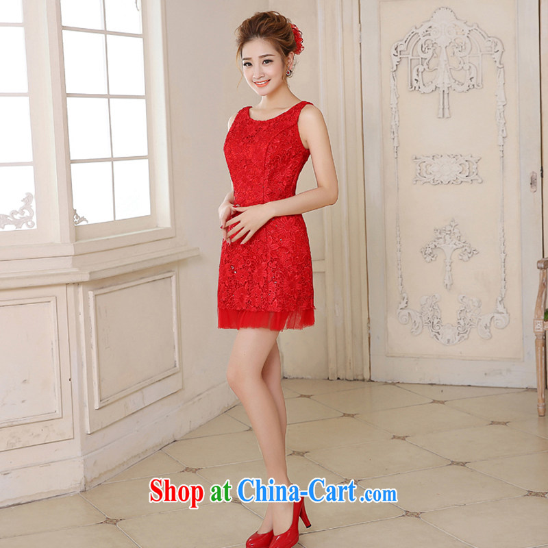 Honey, bride 2015 new lace bridal gown short Korean red shoulders wedding toast serving short crowsfoot small dress red XXL, honey, bride, shopping on the Internet