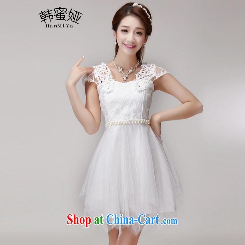 Korean honey Julia 2015 summer hook blossoms, manually set drill gems of Yuan Princess elasticated waist dress dress DR 10,153 white are code