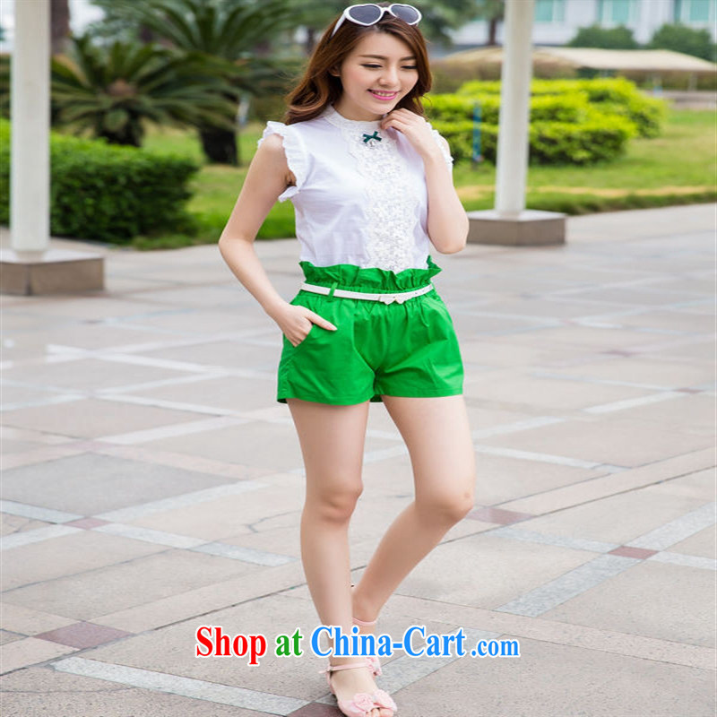 A new parent-child with mother and daughter package summer shirts shorts casual Korean lady sweet __ red baby 7
