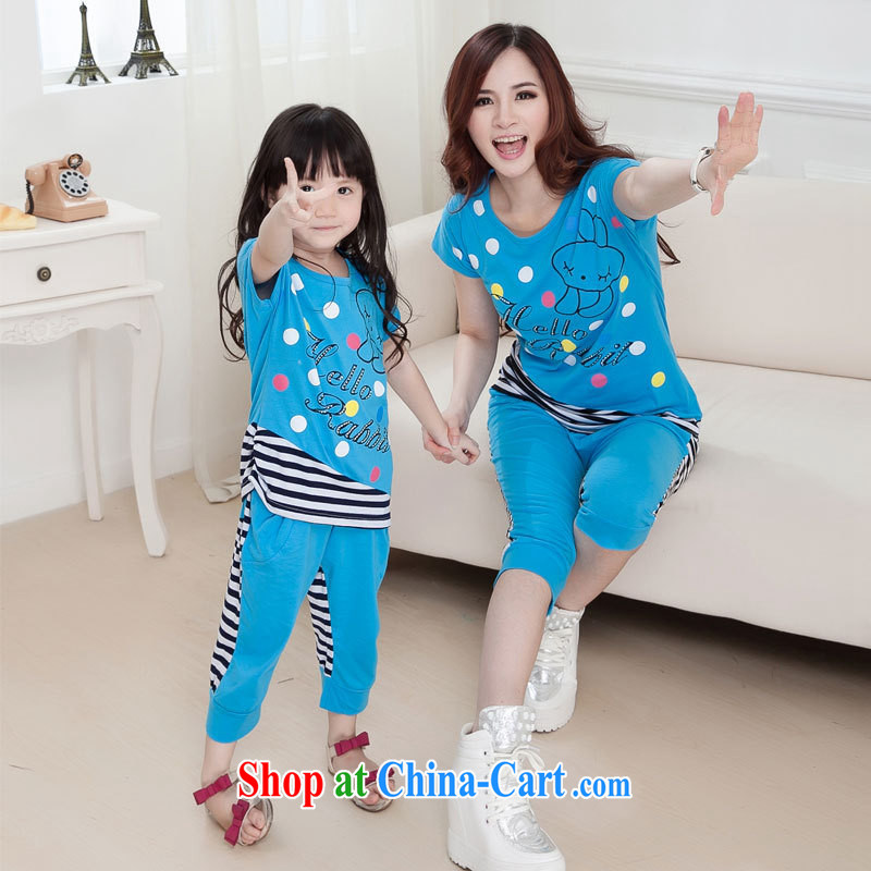 Parent-child the 2015 summer load new streaks stitching short-sleeved T pension letter stamp duty the female Kit blue MOM XL