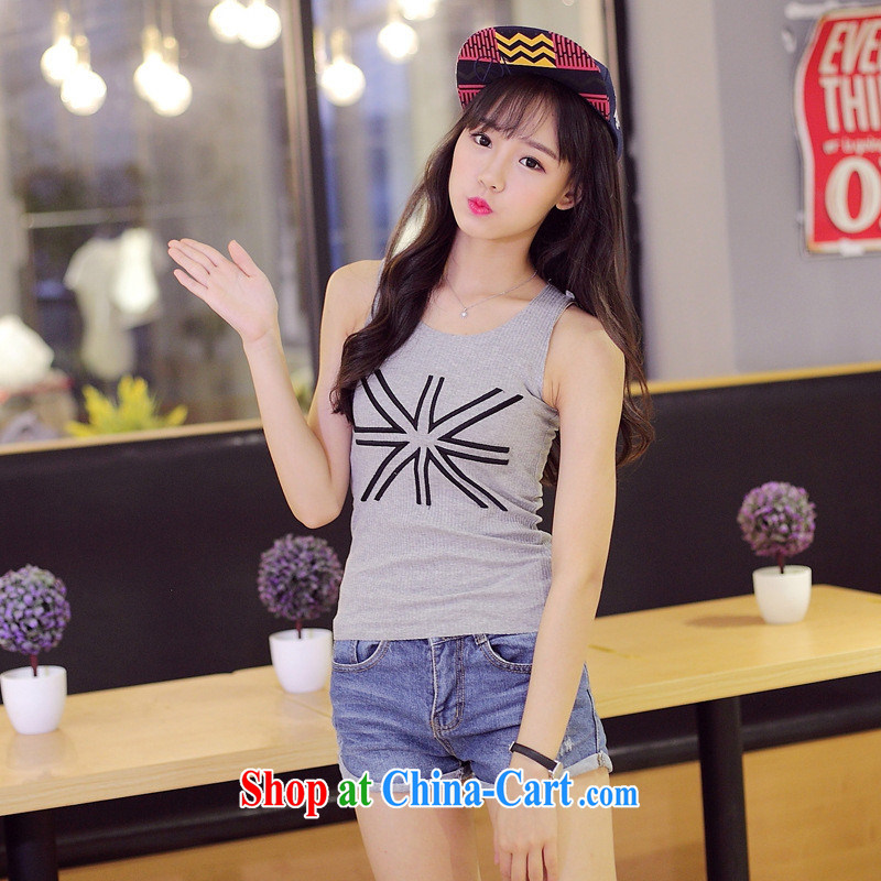Summer 2015 new Korean shirts students, M field embroidered loose sleeveless vest T shirts female gray XL