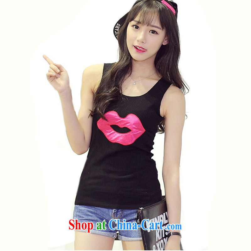 Summer 2015 new Korean T-shirt girl lips embroidery loose the code sleeveless solid T-shirts female gray XL