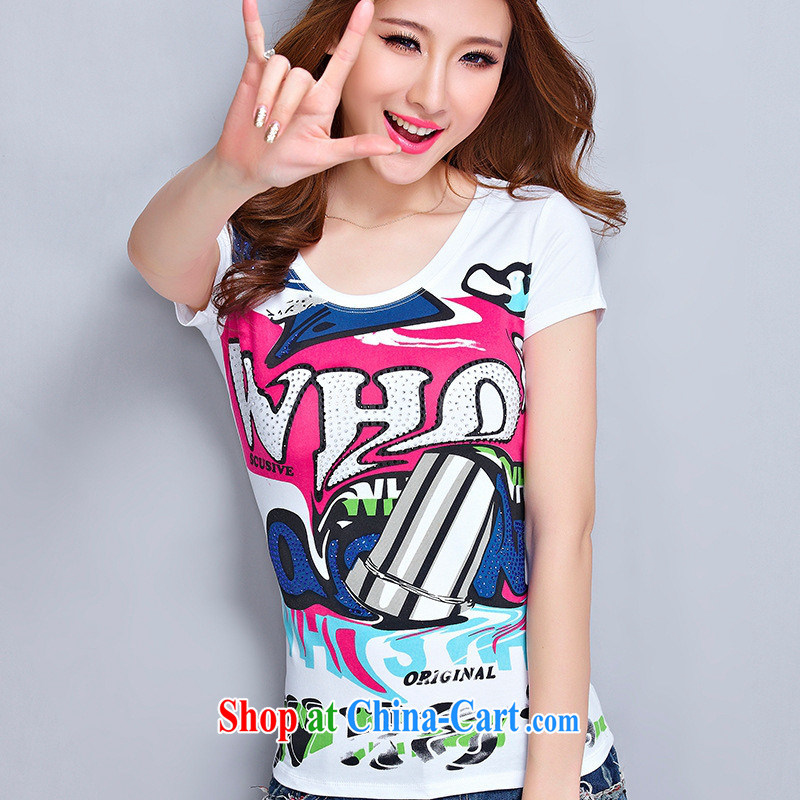 The European site pure cotton T-shirt girls short-sleeved Korean Beauty The Code T-shirt stamp letters with round collar T-shirt picture color 2 XL