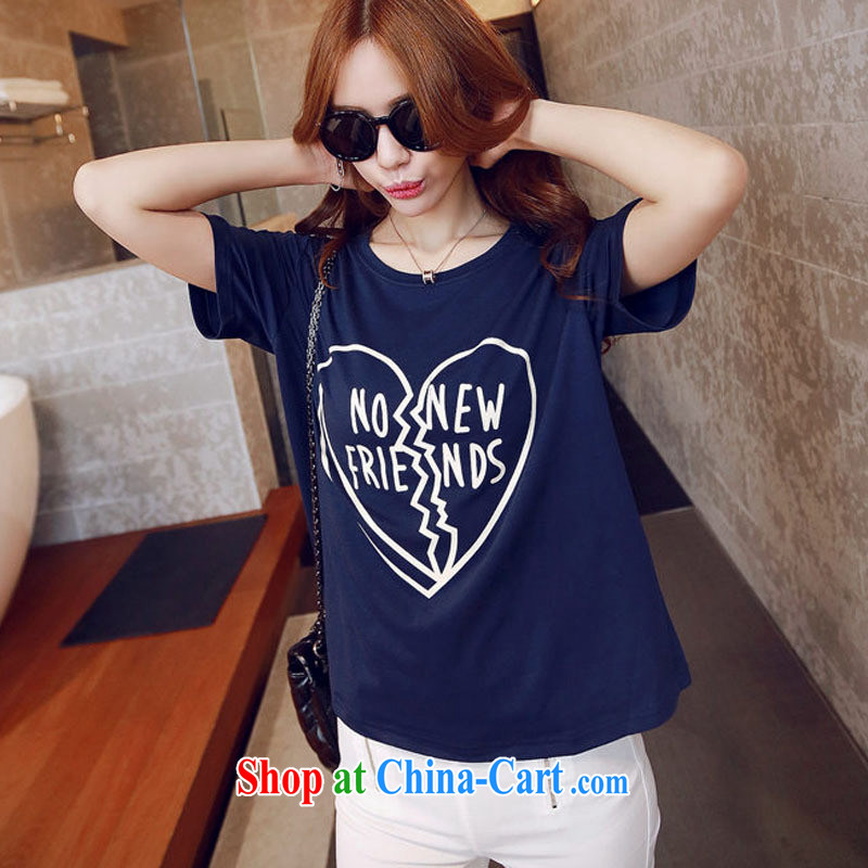 2015 spring and summer new heart to heart card stamp short-sleeved T-shirt Han version cotton female white XL