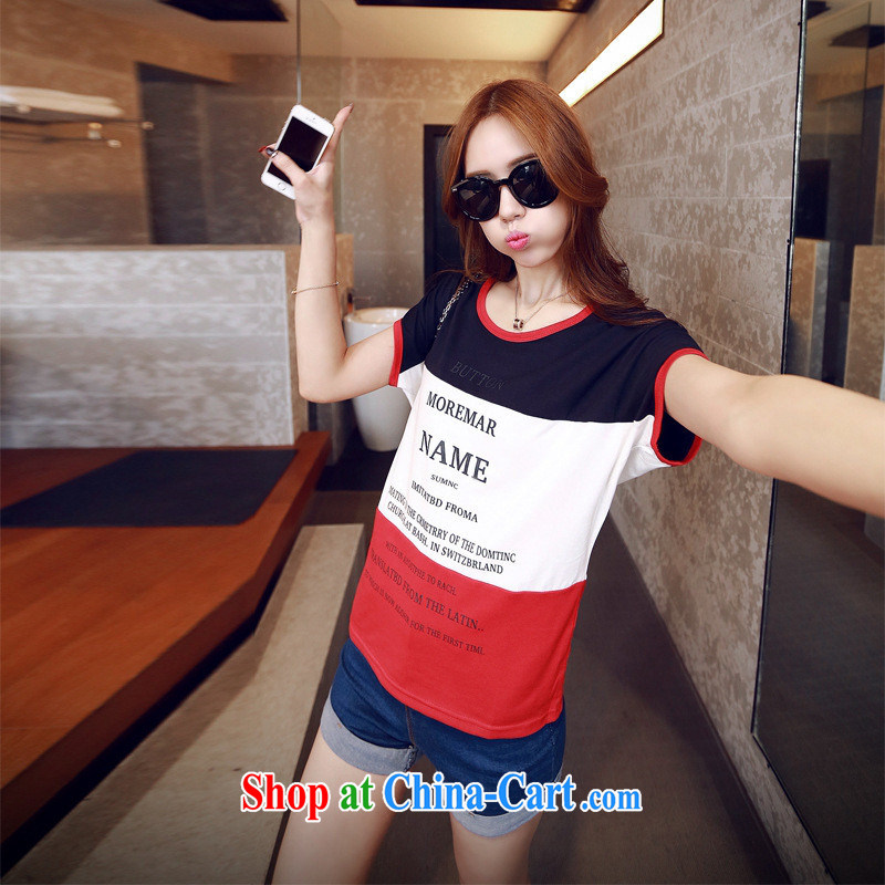 2015 new Korean version of the new spring, summer 3 color tile letters and stylish short-sleeve T-shirt T-shirt a T-shirt girl with green XL