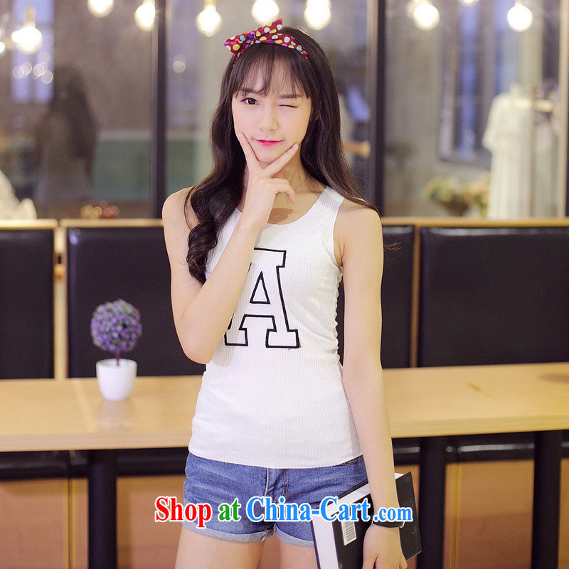 Summer 2015 new Korean T-shirt sleeveless letter embroidery relaxed comfortable Code T shirts female yellow XL