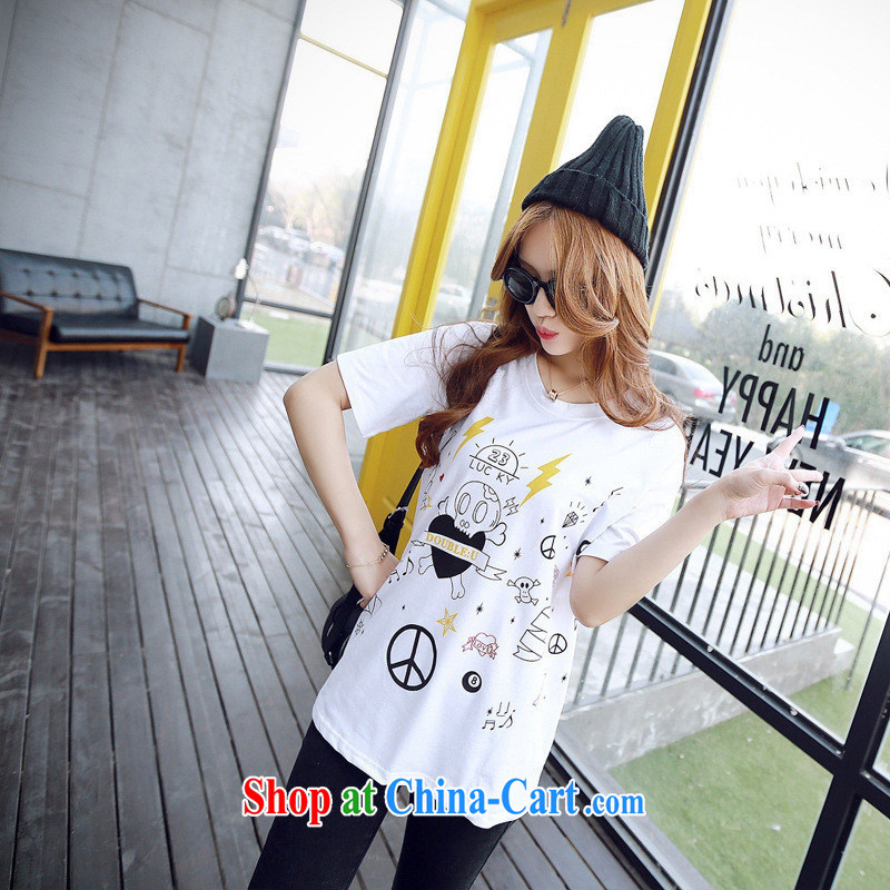 2015 spring and summer new cartoon skull loose, long, short-sleeve girls T-shirts Korean white XL