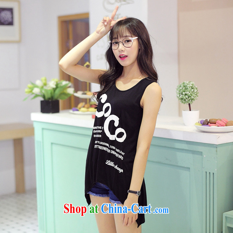 Summer 2015 new Korean fashion loose sleeveless stamp T shirts girls do not rule out the round collar T-shirt picture color black are code
