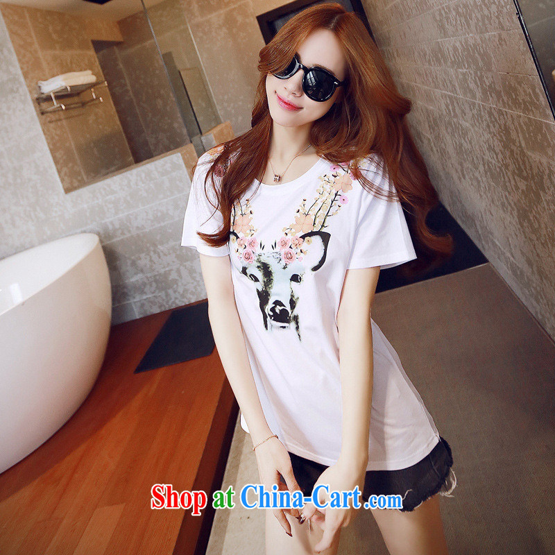 2015 spring and summer new Phillips deer cartoon cotton short-sleeved T-shirt Han version blouses white XL