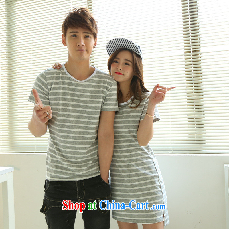 The European site female 2015 summer couples Korean Chic simplicity stripes cotton, long, short-sleeved shirt T Black Female L
