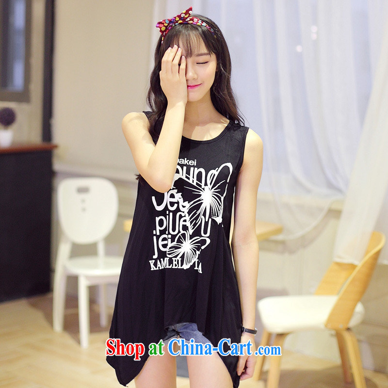 Summer 2015 new sleeveless leisure does not rule out the T-shirt Han version loose letter stamp T-shirt girl picture color black are code